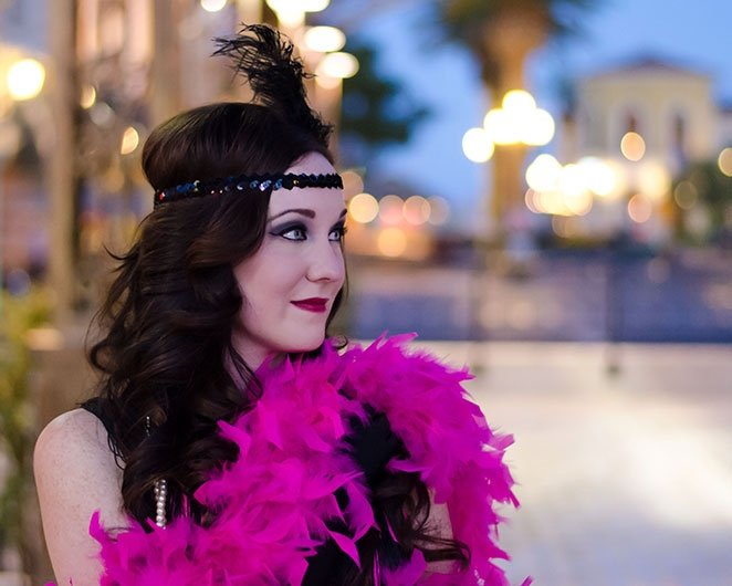 Jenny with Black Door Media doing a flapper girl from the 20s photo shoot