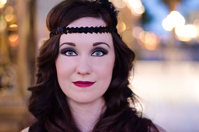 Close up of Jenny in her flapper girl photo shoot with Black Door Media