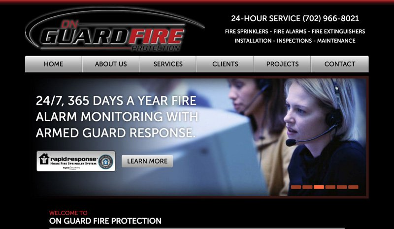 On Guard Fire Protection, Website modified from original to be a responsive design by Black Door Media