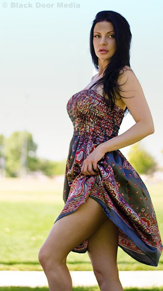Stephanie showing some leg at Desert Breeze photo session with Black Door Media