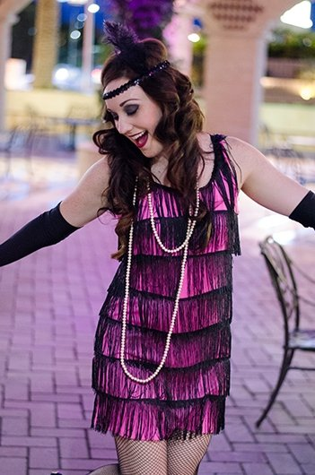 Jenny dancing as a flapper girl during a photo session with Black Door Media