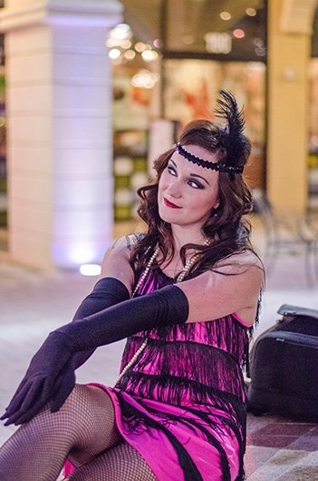 Jenny playing the sly vixen in our 1920s flapper girl photo session with Black Door Media
