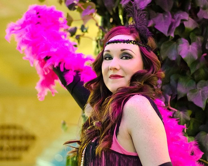 Jenny with her Boa Feathers in Black Door Media's 1920's flapper girl shoot